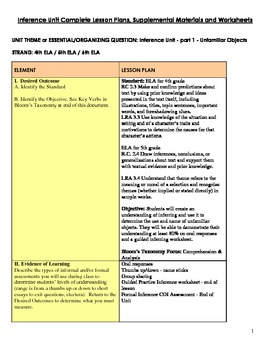 Inference Unit Complete - Lessons, Supplemental Activities, Worksheets