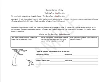 """Inference Using """"The Giving Tree"""" by Shel Silverstein"""