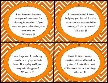 """Inference """"Who am I?"""" Task Cards"""
