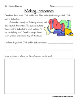 Inference Worksheets by Have Fun Teaching | Teachers Pay Teachers