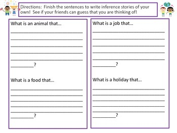 """Inference Practice with """"I have...Who has...?"""" Game Back to School Theme"""