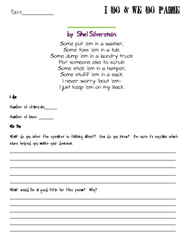 inference with poetry lesson using dirty clothes by shel silverstein. Black Bedroom Furniture Sets. Home Design Ideas