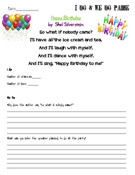 Inference with Poetry Lesson using Happy Birthday by Shel Silverstein