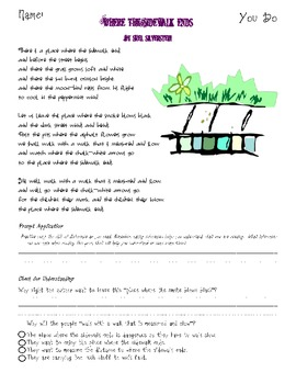inference with poetry lesson using where the sidewalk ends by shel silverstein. Black Bedroom Furniture Sets. Home Design Ideas