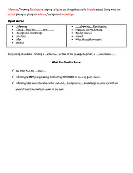 Inference/Drawing Conclusions Notes - Fill in the Blank