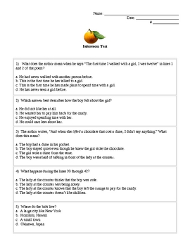 "Inferences Assessment on Poem ""Oranges"" by Gary Soto"