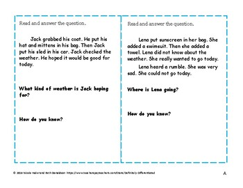 Inferences Differentiated Task Cards