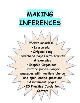 Inferences Pack:Lesson Plan, Song, Overheads, Reading Passages, 20 Task Cards