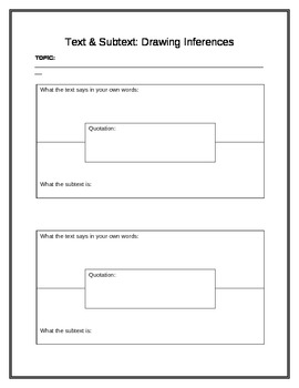 Inferences: Text & Subtext Graphic Organizer