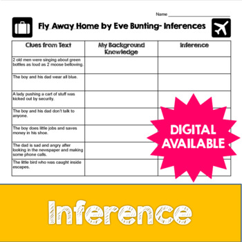 Inferences and Fly Away Home by Eve Bunting- Common Core- 4th, 5th, 6th