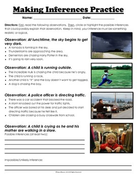 Inferences and Observation Practice Pack