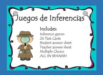 Inferencias Juegos Tarjetas Spanish Inference Task Cards