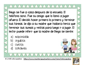 Inferencias con sentimientos -16 Inference w/ feelings SPANISH-  multiple choice