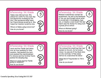 Inferencing Task Cards - 1st Grade {common core aligned}