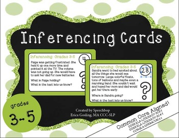 Inferencing Task Cards - 3-5 Grade {common core aligned} cards 1-32