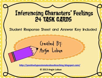 Inferencing Characters' Feelings: 24 Task Cards