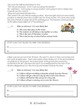 Inferencing (Drawing conclusions) Common Core Assessment for grades 3,4, & 5