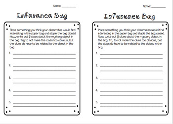Inferencing- Inference Bag Activity