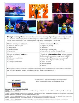 Inferencing, Main Idea, Multiple Meanings with video clip- Despicable Me 2