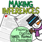 Inferencing Passages Winter Themed Paper and Digital