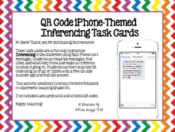 Inferencing QR Code iPhone-Themed Task Cards