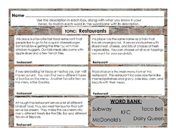 Inferencing: Restaurants