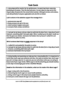 Inferencing and Drawing Conclusions Worksheet and Task Cards STAAR