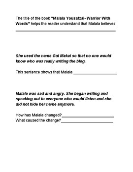 """Inferencing and Drawing Conclusions with the text """"Malala Yousafzai"""""""