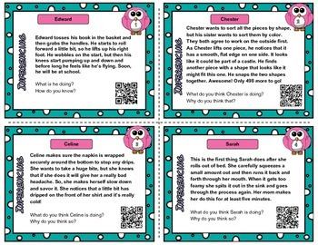 Inference QR code task cards or inference passage cards set 3  - 12 cards