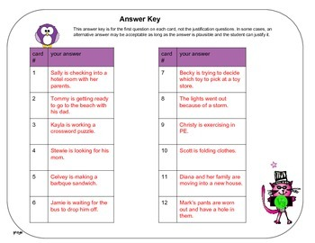 Inference task cards with QR codes 12 passages - set 5
