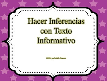 Inferencing using Informational Text in Spanish