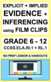 Inference with VIDEOS: Lesson Plan & Activities NO PREP: CCSS.ELA.RL.1 & RI.1