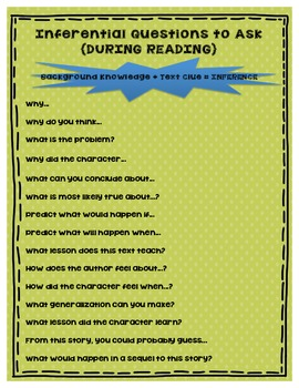Inferential Questions to Ask During Reading FREEBIE!