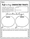 Inferring Character Traits Worksheet