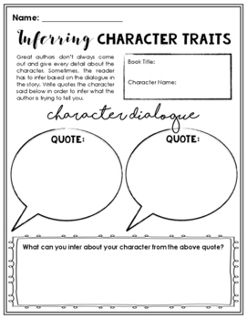 Inferring Character Traits Worksheet by Firsty Fun | TpT
