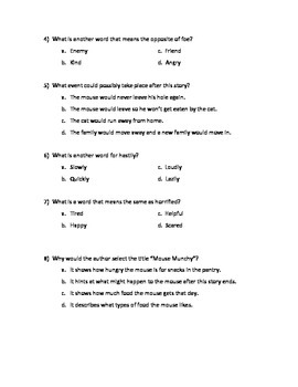 Inference Questions- Mouse Munchie