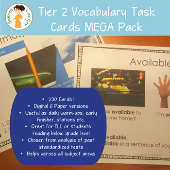 Tier 2 Vocabulary Task Cards MEGA Pack (Great for Test Prep)