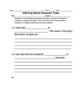 Inferring about Character Sentence Starter graphic organizer