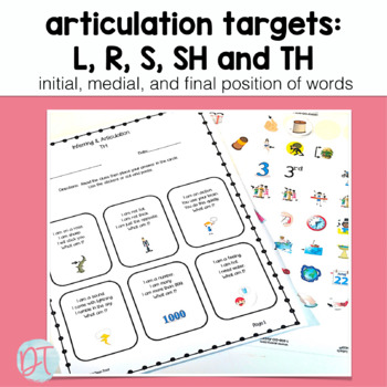 Articulation Activities and Inferring Bundle: SH, TH, R, S, L and blends