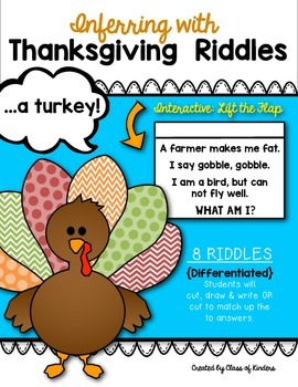 Inferring with Thanksgiving Riddles: {Lift the Flap!} Kindergarten & First Grade