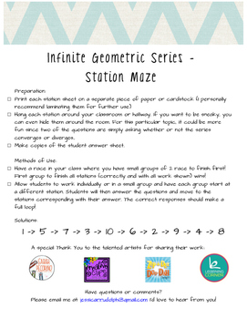 Infinite Geometric Series - Station Maze