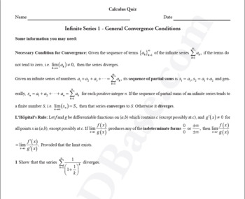 Infinite Series Quiz 1 - General Convergence Conditions