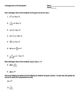 Infinite Series Worksheets - AP Calculus BC
