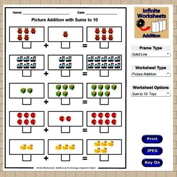 Infinite Worksheets: Addition  (Math Worksheet Generator Software)