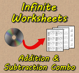 Infinite Worksheets: Addition/Subtraction Combo (Worksheet