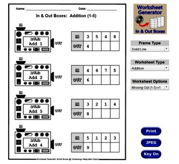 Infinite Worksheets: In & Out Boxes (Math Worksheet Generator Software)