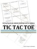 Infinite and No Solution Equations Tic Tac Toe