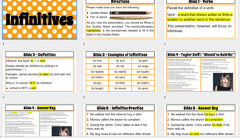 Infinitives Mini-Lesson with Guided Notes - INSTANT DOWNLOAD GOOGLE PRESENTATION