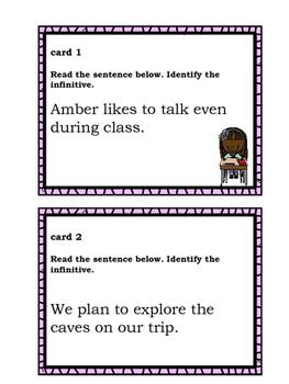 Infinitive Task Cards