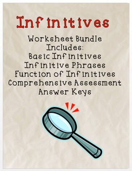 Infinitive Worksheets and Assessment Bundle - Common Core aligned